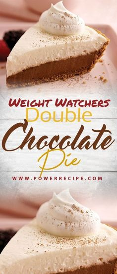 Double Chocolate Pie - All about Your Power Recipes Low Calorie Desserts, Diet Desserts, Healthy Desserts, Healthy Recipes, Calorie Diet, Summer Desserts, Healthy Meals, Healthy Eating, Skinny Recipes