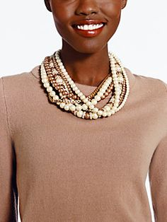 parlour pearls twisted statement necklace, cream multi