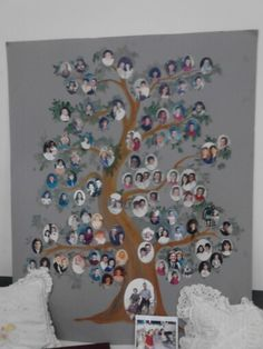 Custom family tree from photos of the family members.  Easy to make yourself.  Great idea for a wall decor or as a special project for a family reunion