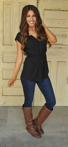 Chiffon Tunic- Black - Dottie Couture Boutique