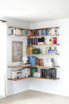 DIY Wall-Mounted Shelving Systems Easy to Install One of my favorite small space hacks is swapping your bookcases for wall-mounted shelving. We've created roundups of wall mounted shelving systems before, but for those of you who are especially crafty t Decor, Interior Design, House Interior, Small Spaces, Home, Interior, Home Diy, Shelves, Home Decor