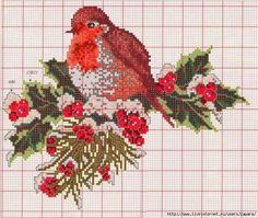 cross stitch bird on a branch Xmas Cross Stitch, Cross Stitch Flowers, Cross Stitch Charts, Cross Stitch Designs, Cross Stitching, Cross Stitch Embroidery, Embroidery Patterns, Cross Stitch Patterns, Crochet Cross