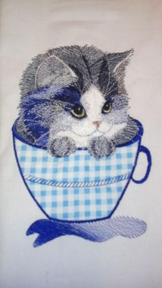Kitten in a mug applique free embroidery free embroidered design - Free embroidery designs - Gallery - Machine embroidery forum