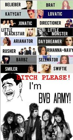 psshh please...lovatics, beliebers, directioners...I AM A BVB ARMY MEMBER. I got Black Veil Bride Pride!