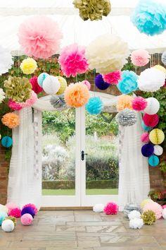 colourful pompoms - multicoloured