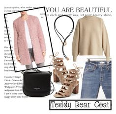 """Snuggle Up: Teddy Bear Coats"" by sissy-couture ❤ liked on Polyvore featuring Lancaster, RE/DONE, Via Spiga, Franco Sarto, The Row, Pamela Love and teddybearcoats"