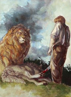 Aslan and Peter - The Lion, the Witch, and the Wardrobe #narnia #fanart