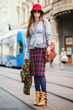 Mixing tartan with other patterns On the streets of Zagreb