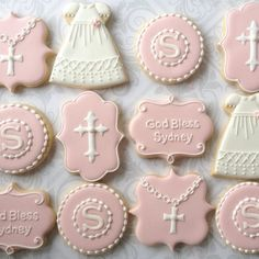 Pink and White Baptismal Cookies One Dozen by thesweetesttiers Christening Cake Girls, Christening Cookies, Baptism Cupcakes, Baby Girl Baptism, Cute Cookies, Easter Cookies, Sugar Cookies, First Communion Cakes, First Holy Communion