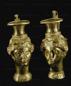 Two Amazon heads. Gold drinking vessels (3rd BCE).  Panagyurishte Golden Treasure.  Height 14 and 22.5 cm  Archaeological Museum,Plovdiv,Bulgaria