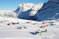 Swiss Helicopter's choppers meeting for the Lauberhorn ski race