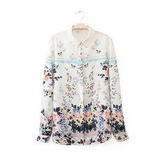 LT117 New Fashion Ladies' elegant floral print blouses vintage turn down collar long sleeve OL shirts casual slim brand tops