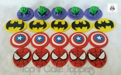 Superhero cupcake toppers. The Hulk, Batman, Captain America & Spiderman cupcake toppers. Made with marshmallow fondant