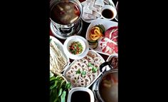 Mala Tang's hot pots are accented with an array of meats and vegetables. Hot Pot, Pots, Meat, Vegetables, Cooking, Tableware, Cucina, Dinnerware, Veggies