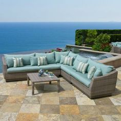 RST Brands Cannes 6 Piece Patio Sectional Seating Set With Bliss Blue  Cushions