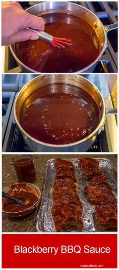 marinade sauce Blackberry BBQ Sauce by Real Food Finds Blackberry Bbq Sauce Recipe, Homemade Bbq Sauce Recipe, Barbecue Sauce Recipes, Grilling Recipes, Bbq Sauces, Blackberry Recipes, Smoker Recipes, Rib Sauce, Marinade Sauce