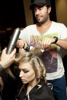 #RichardMannah working on the #Rohmir AW13 runway hair at #LFW
