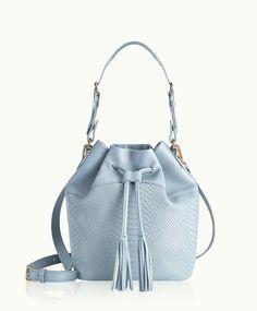 GiGi New York | Harbor Blue Jenn Bucket Bag | Embossed Python Leather | Spring 2015