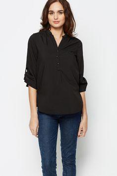 Button Front Black Blouse
