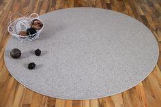 Natur Teppich Wolle Berber Grau Meliert Rund in 7 Größen