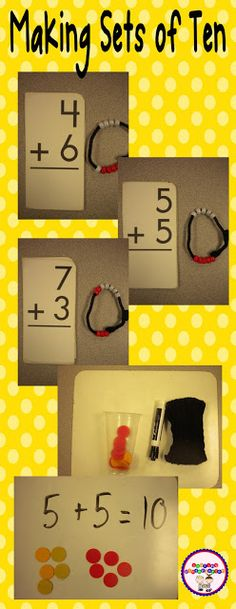 ideas for making sets of ten with manipulatives... so much fun and meaningful to little learners.