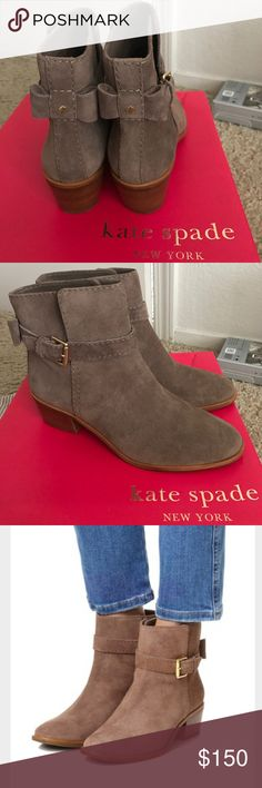 "NEW Kate spade Taley booties boots 7 New kate spade taley booties boots size 7M in women's. New in box! Color is ""mousse"" which is a gorgeous gray-brown. Color is more true to first couple of pics. Material is real genuine suede. Heel height is about 1 and 3/4 inches. Selling for cheaper on Ⓜ️ercari, link in my ""about"" kate spade Shoes Ankle Boots & Booties"