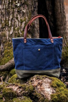 Waxed Canvas Tote / Carryall Bag Handcrafted in by AmericanNative