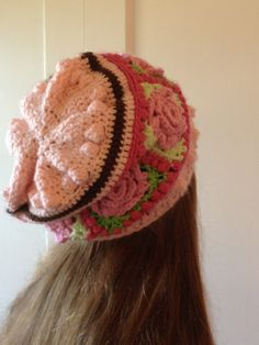 """. Love this granny square """"slouchy"""" beanie cap"""