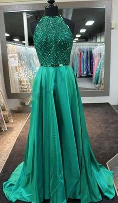 green prom dress,long prom dress,beaded prom dress,new arrived Gown,charming evening gown