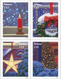 A new booklet of Forever stamps entitled Holiday Windows was dedicated today, making it clear that the holidays are right around the corner. Buy Postage Stamps, Buy Stamps, Love Stamps, Christmas Gift Decorations, Christmas Art, Vintage Christmas, Jolly Holiday, Holiday Cards, Holiday Images