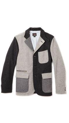 Woolrich Woolen Mills Wool Patchwork Blazer