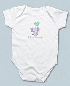 New to HappyHippoArts on Etsy: I Love Mommy Sleeper I Heart My Mommy Baby Bodysuit Baby Sleeper One-Piece Baby Elephant Mint Green Balloon Baby Gift Infant Layette (22.00 CAD)