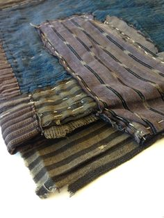 Antique Japanese Handwoven Indigo Boro Patched Scarf Textile with Sashiko Mends - Mujo.