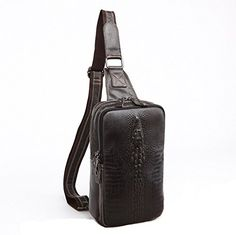 BAOSHA XB12 Crocodile Genuine Leather Shoulder Sling Bag Backpack Cross Body Chest Bag Black >>> You can find more details by visiting the image link.