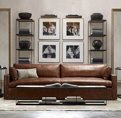 Belgian Track Arm Leather Sofa - RH