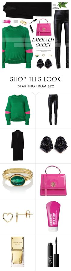 """""""Pops of Green"""" by mylkbar ❤ liked on Polyvore featuring Alexander McQueen, Helmut Lang, Marni, Judy Geib, Roberto Cavalli, Whiteley, Estella Bartlett, Clinique, Michael Kors and NARS Cosmetics"""