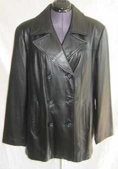 Vintage 80s NEW Old Stock Black Buttery Soft Leather Peacoat Pea Coat  Jacket PLUS SIZE by backtocapri on Etsy https://www.etsy.com/listing/59359299/vintage-80s-new-old-stock-black-buttery