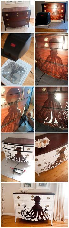 I love this idea c: Imagine all the fun things I could paint on my furniture! Furniture Projects, Furniture Makeover, Home Projects, Diy Furniture, Craft Projects, Projects To Try, Antique Furniture, Cardboard Furniture, Modern Furniture