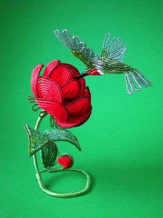 Hummingbird in Peony French Beaded Flower by copperglass on Etsy