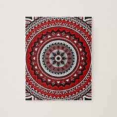Shop Red and black mandala jigsaw puzzle created by Mantramandala. Mandala Art Lesson, Mandala Artwork, Mandala Drawing, Mandala Painting, Mandala Sketch, Zentangle Drawings, Dot Painting, Zentangles, Art Drawings For Kids