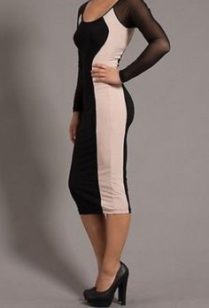 NEW WOMEN HOURGLASS MAXI DRESS Two-Tone Color Block Sheer Sleeve Illusion S M L