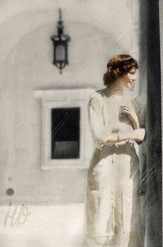 Grand Duchess Olga Nikolaevna Romanova of Russia (1895-1918), the eldest child and daughter of the last Russian Tsar Nicholas II. Originally black and white photo coloured by me.