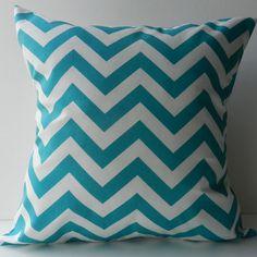 New 18x18 inch Designer Handmade Pillow Case in aqua chevron pattern.