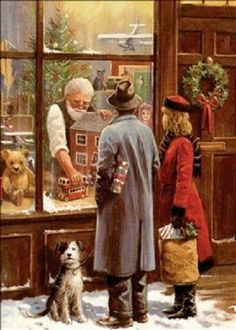 old fashioned christmas - love the black cat in the background Old Fashioned Christmas, Christmas Scenes, Christmas Past, Christmas Pictures, Winter Christmas, Christmas Shopping, Xmas, Christmas Windows, Old Time Christmas
