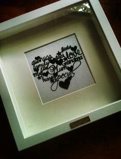 A beautiful and personal gift. I need 15 - 20 words that are important to you and I will create a beautiful piece for you.... this is my most popular cut and that's because they are so beautiful and personal. Choice of backing paper and choice of black or white frames.