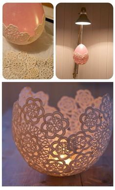 Candle holder made from crochet dollies