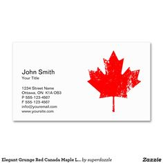 Canada business cards white maple leaf professional custom elegant grunge red canada flag maple leaf business card reheart Choice Image