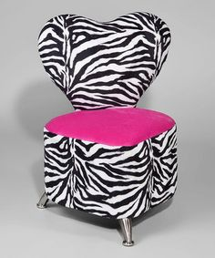 Pink & Zebra Heart Chair by Funky Kids by Mauricio's Furniture