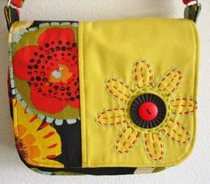 cute handbag in bright multi colored red yellow by GingerlySpice, $58.00