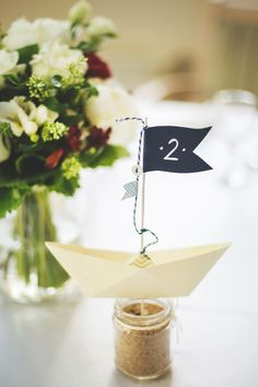Table number, boat, sea theme wedding
